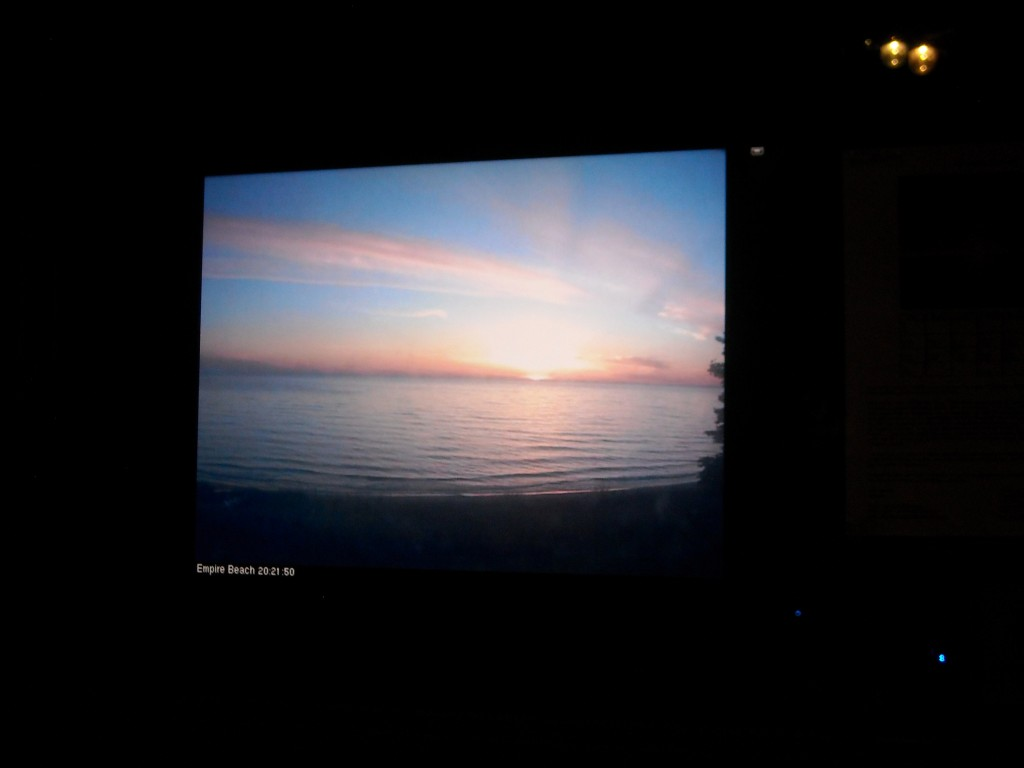 Empire Sunset live on a screen  in Whitstable, UK early in the morning BST.