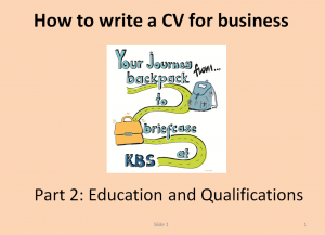 Part 2 - Education and Qualifications