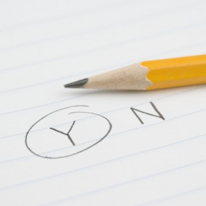 "Pencil with ""Y"" Circled For Yes"