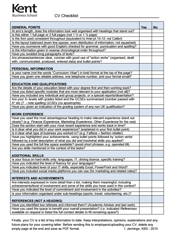example cvs and checklist  u2013 kent business school employability