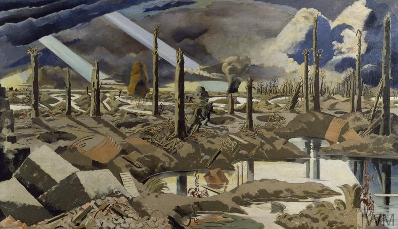 The Menin Road (Art.IWM ART 2242) image: A devastated battlefield pocked with rain-filled shell-holes, flooded trenches and shattered trees lit by unearthly beams of light from an apocalyptic sky. Two figures pick their way along a tree-lined road, the road punctuated by shell-holes and lined by tree stumps. The foreground is filled with concrete blocks, barbed wire and corrugated iron, while columns of mud from artillery fire. Copyright: © IWM. Original Source: http://www.iwm.org.uk/collections/item/object/20087