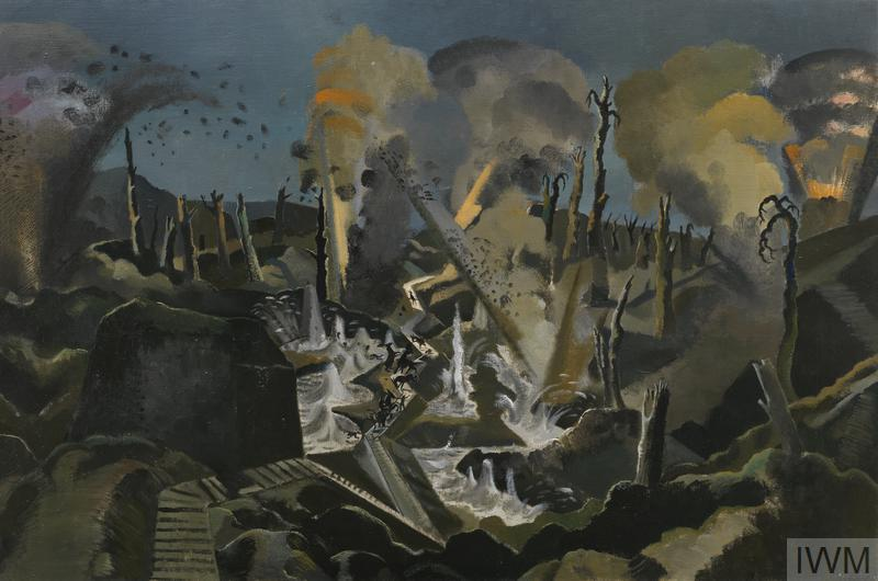 The Mule Track (Art.IWM ART 1153) image: The view across a battlefield undergoing heavy bombardment. The shattered landscape is disected by an angular duckboard path, along which a mule train is travelling, their small figues just visible in the distance. The animals rear and panic at a nearby explosion as the water from a flooded trench shoots up from the surface. In the sky there are large clouds of yellow and grey coloured smoke, with rubble flying high into the air in the foreground. Copyright: © IWM. Original Source: http://www.iwm.org.uk/collections/item/object/20078