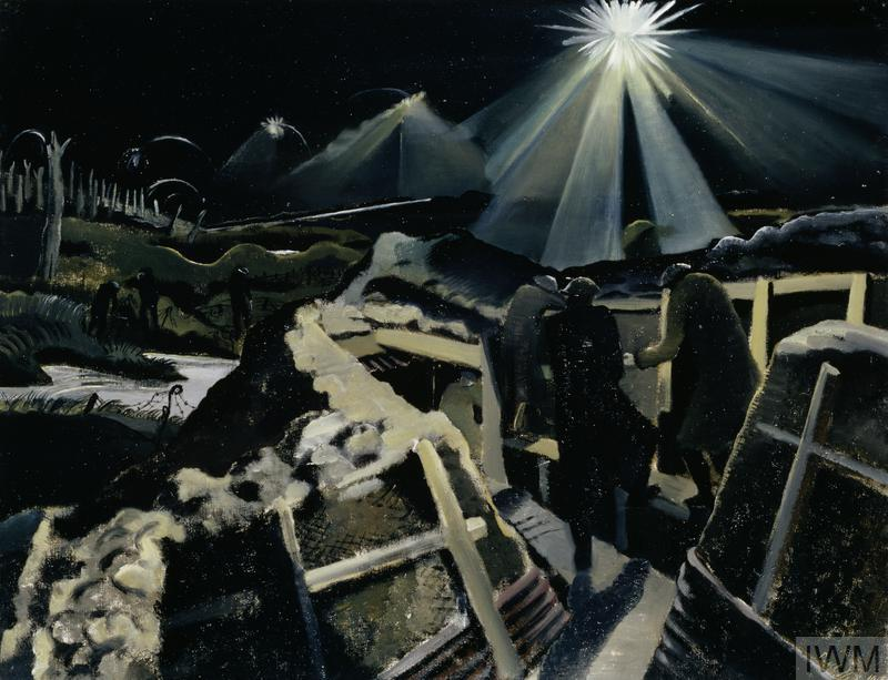 The Ypres Salient at Night (Art.IWM ART 1145) image: A night scene showing three soldiers on the fire step of a trench surprised by a brilliant star shell lighting up the view over the battlefield. On the left there is a flooded shell-hole, beyond which stand three other soldiers, overlooked by a woodland of tree stumps. Copyright: © IWM. Original Source: http://www.iwm.org.uk/collections/item/object/20069