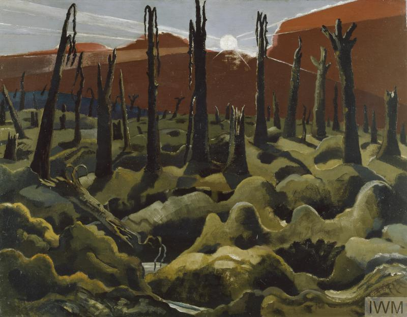 We are Making a New World (Art.IWM ART 1146) image: The view over a desolate landscape with shattered trees, the earth a mass of shell holes. The sun hangs high in the sky, beams of light shining down through heavy, earth-coloured clouds. Copyright: © IWM. Original Source: http://www.iwm.org.uk/collections/item/object/20070