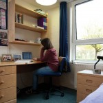 An image of a University of Kent student in thier study bedroom
