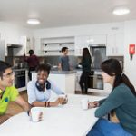 An image of university of kent students in a student kitchen