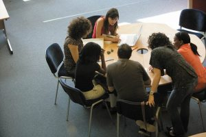 An image of a group of university of Kent students working together