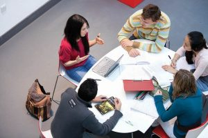An image of a group of students studying