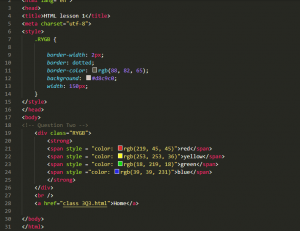 An image of some HTML code