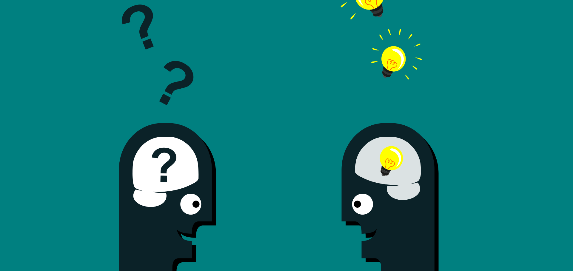 Cartoon of two heads facing each other, one asking questions and the other coming up with ideas