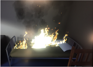 Virtual reality bed on fire
