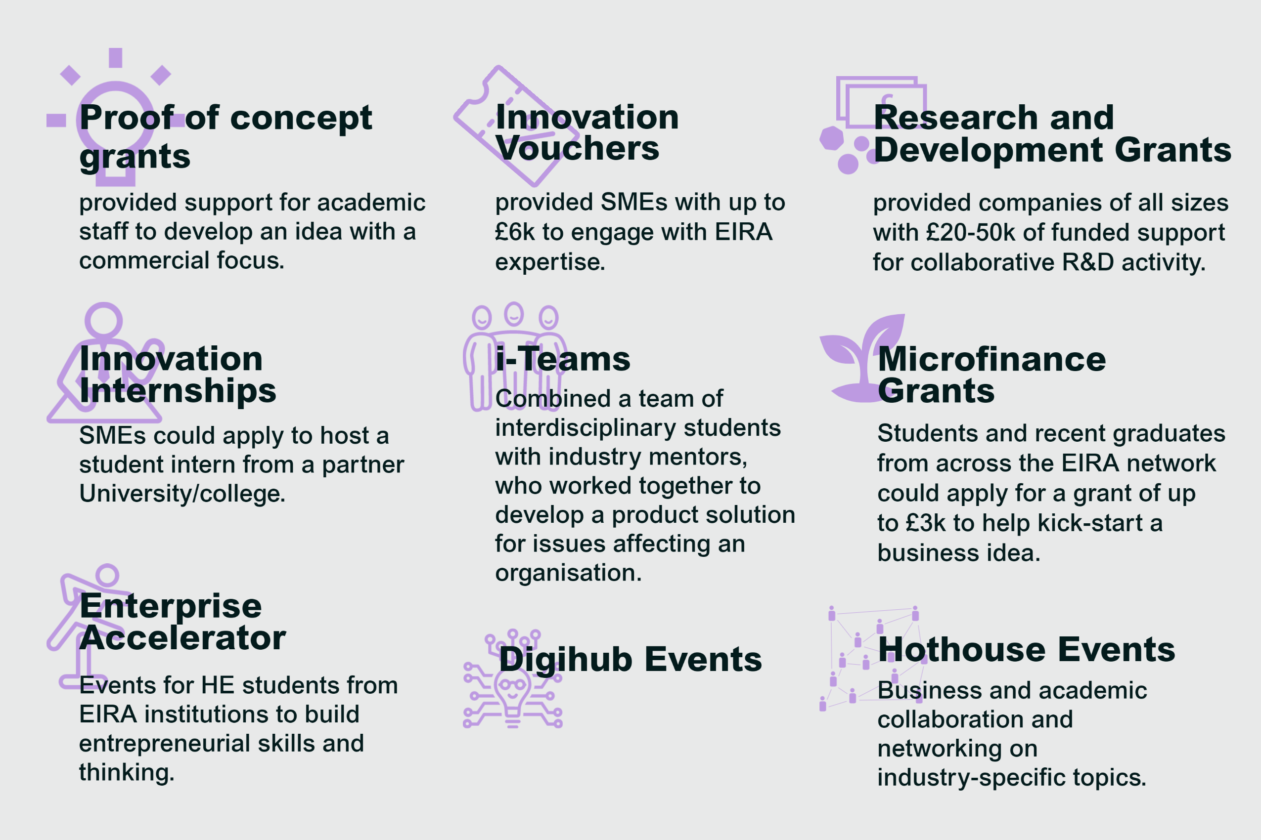 An inforgraphic listing the 9 EIRA interventions: proof of concept grants, innovation vouchers, research and development grants, innovation internships, i-Teams, microfinance grants, enterprise accelerator, digihub events and hothouse events.