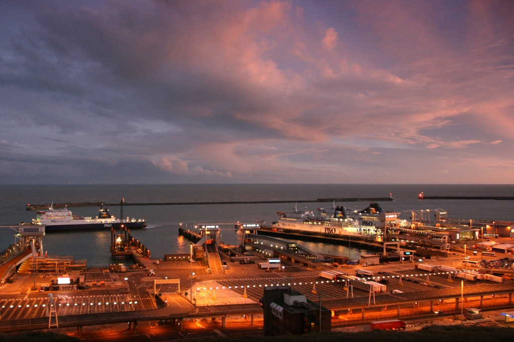 Dover port at night time