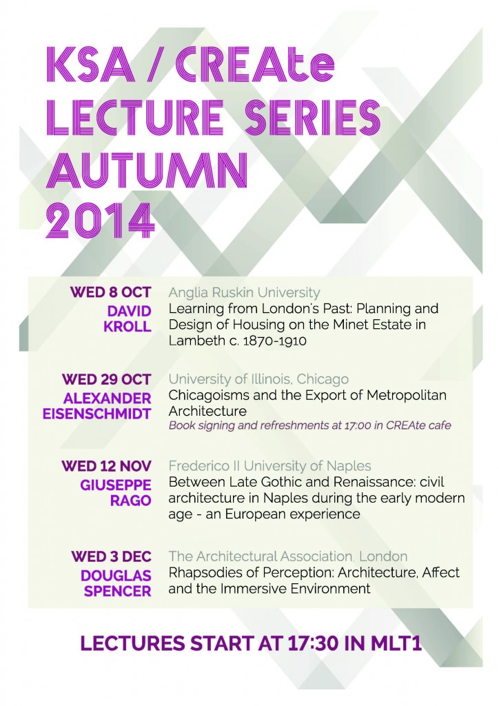 CREAte Open Lectures Autumn 2014