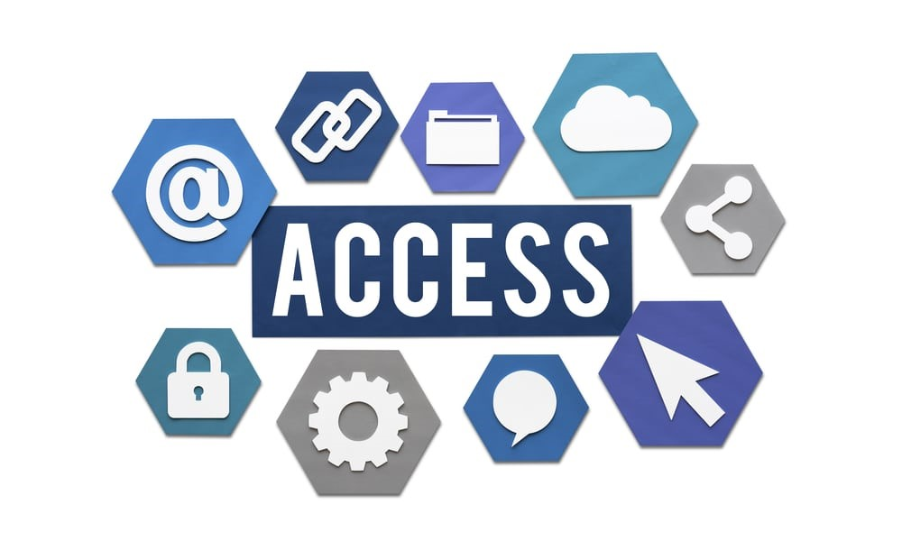 Blue box with word Access in white font, surrounded by various accessibility icons