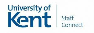 Blue on white corporate University of Kent written logo with Staff Connect written next to it