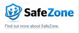 Black and blue SafeZone wording logo on white background with a padlock image
