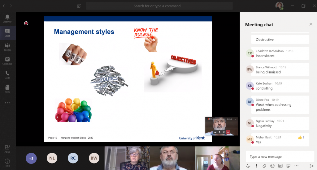 Screenshot of presentation slide with the chat function showing