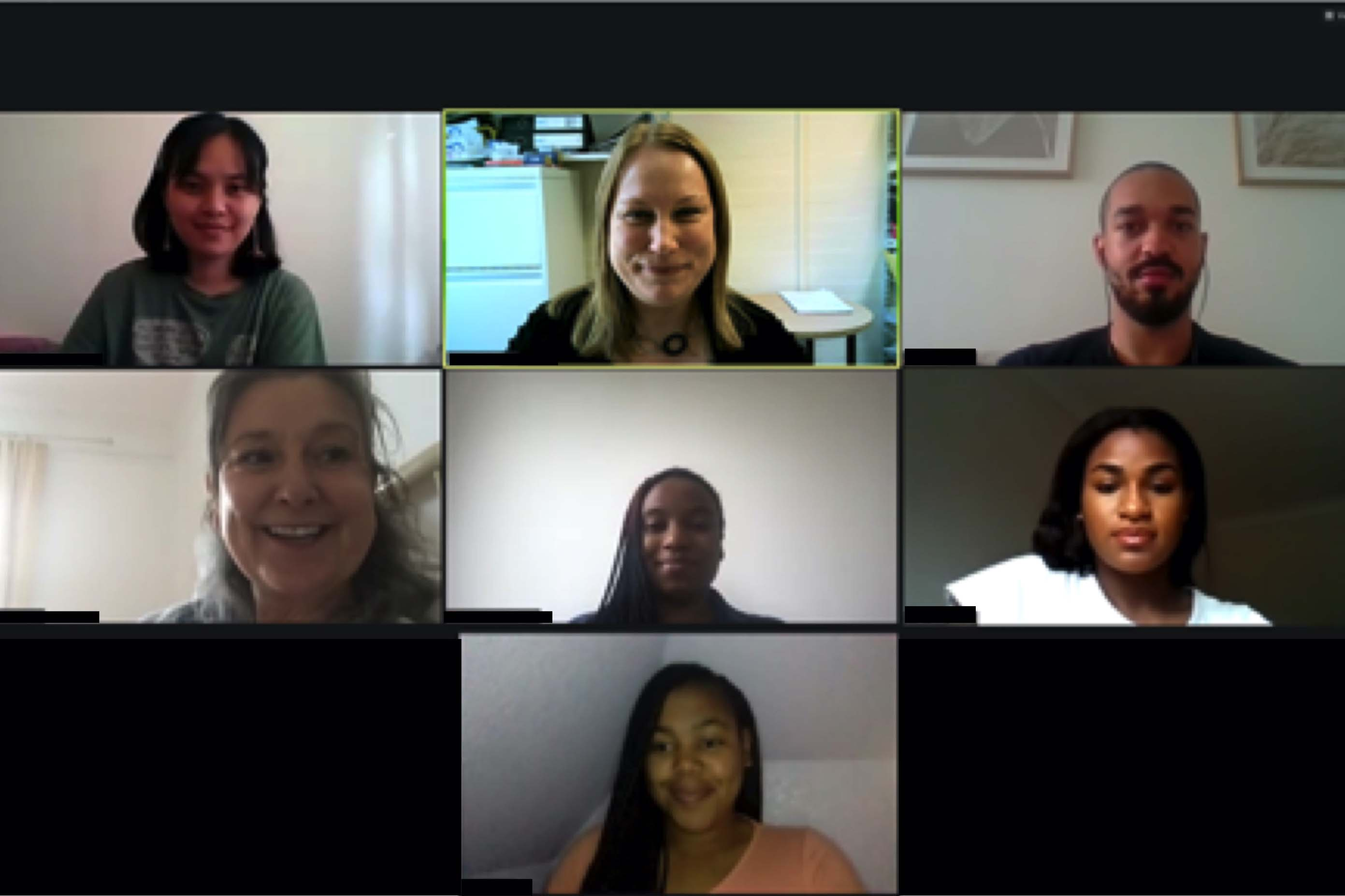 Screenshot of online meeting with students and staff