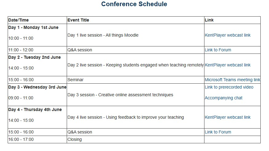 A screenshot of a conference schedule in moodle, highlighting the mix of synchronous and asynchronous activities
