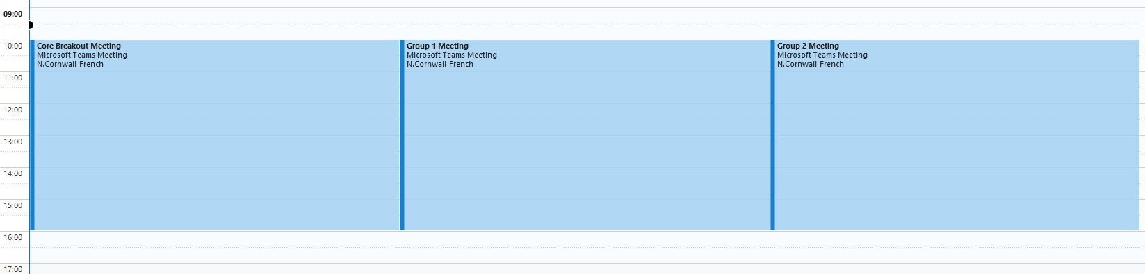 A screenshot of the outlook calendar, showing the seperate scheduled meetings per group