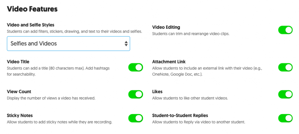 Screenshot of various features that can be turned on and off within a topic using slider buttons