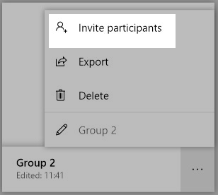 a screenshot highlighting the invite participants option for a whiteboard