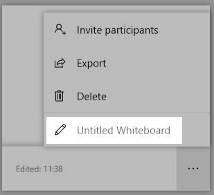 A screenshot highlighting the pencil icon to click in order to edit the whiteboard name