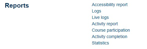 A screenshot of the reports available in the moodle module settings
