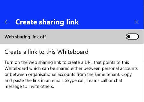 a screenshot of the option to create a sharing link to a whiteboard