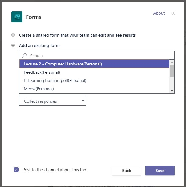 A screenshot showing the options to add an existing form when adding a form to a team