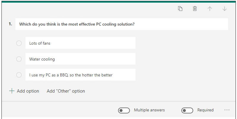 An example multiple choice question about PC cooling solutions