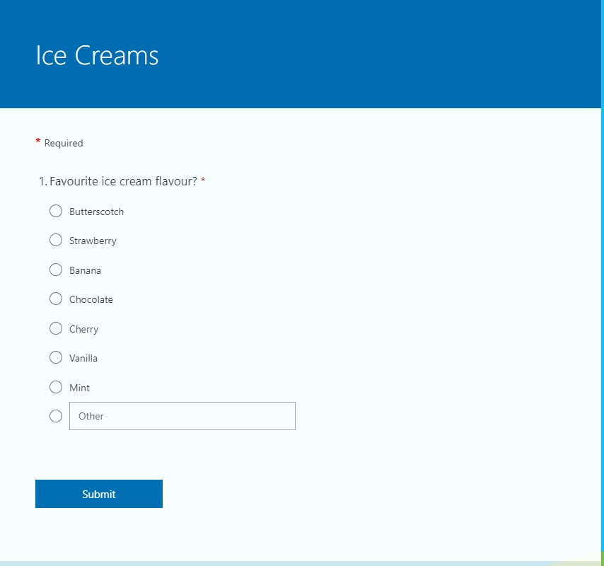 A screenshot of a form asking what their favourite ice cream flavour is