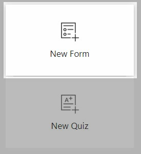 A screenshot from microsoft forms, highlighting the new forms button