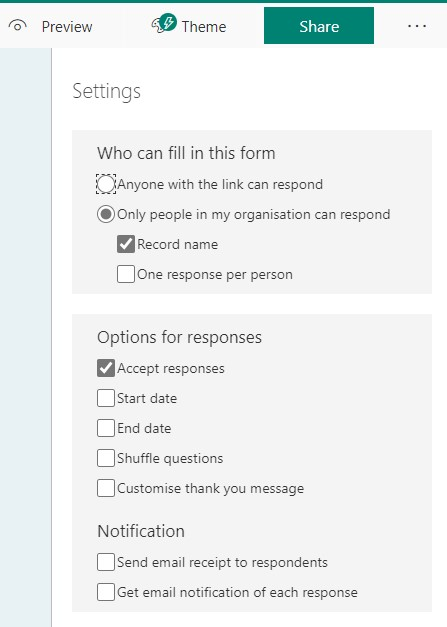 A screenshot showing the options available for a form.