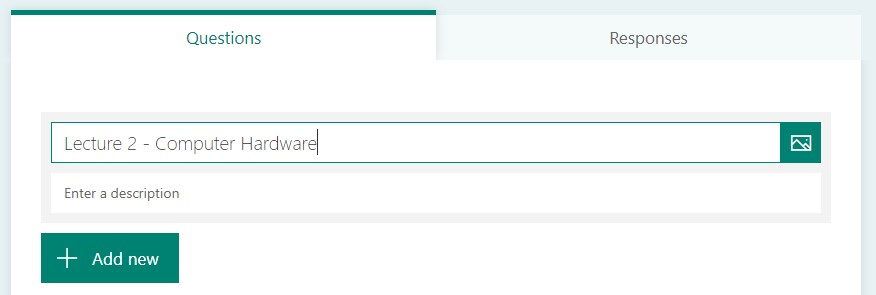 A screenshot of microsoft forms with the name of the form being changed