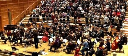Chorus and Orchestra in rehearsal