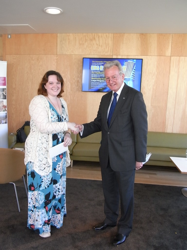 Emma Murton receives her prize from Deputy Vice-Chancellor, Keith Mander