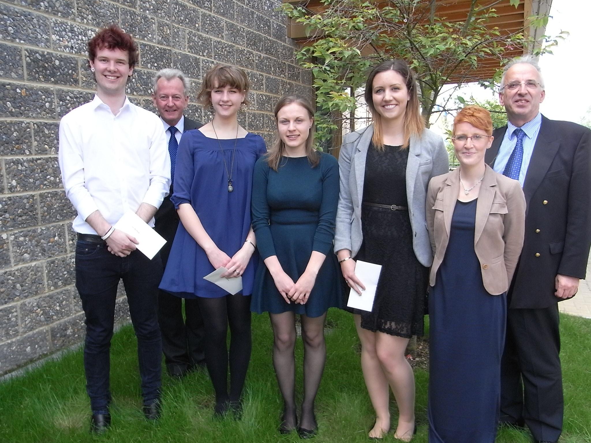 Jack Mcdonnell (l), Steph Richardson, Aisha Bove with Keith Mander, Jonathan Monckton and Kerry of Canterbury Festival