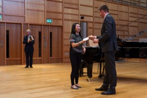 Dan Lloyd presents Carina Evans with her prize