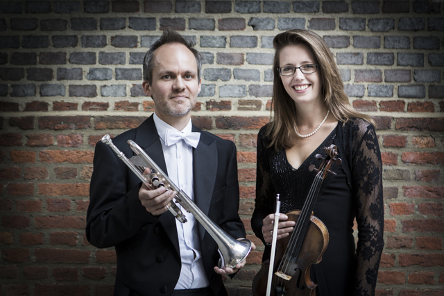 Conductor Alex Caldon with leader of CantiaQuorum, Alexandra Reid