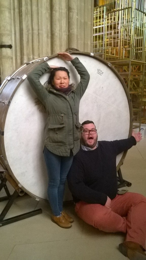 Alumnus & percussionist, Carina Evans and tuba-player Chris Gray