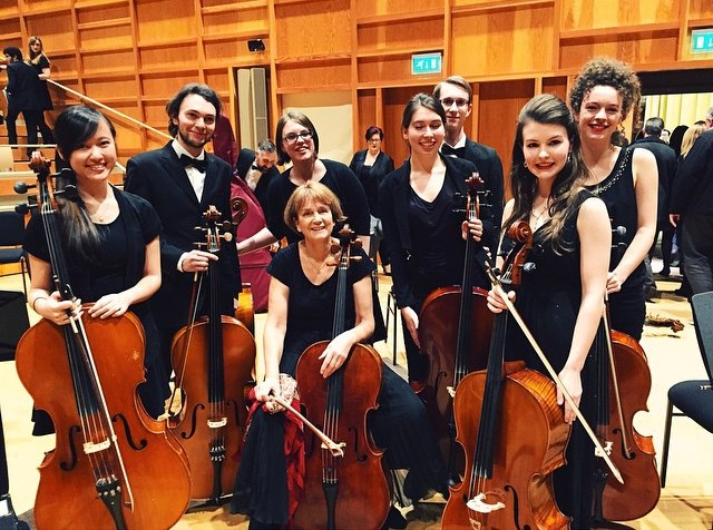 The cello section after the orchestral concert in the Colyer-Fergusson Hall