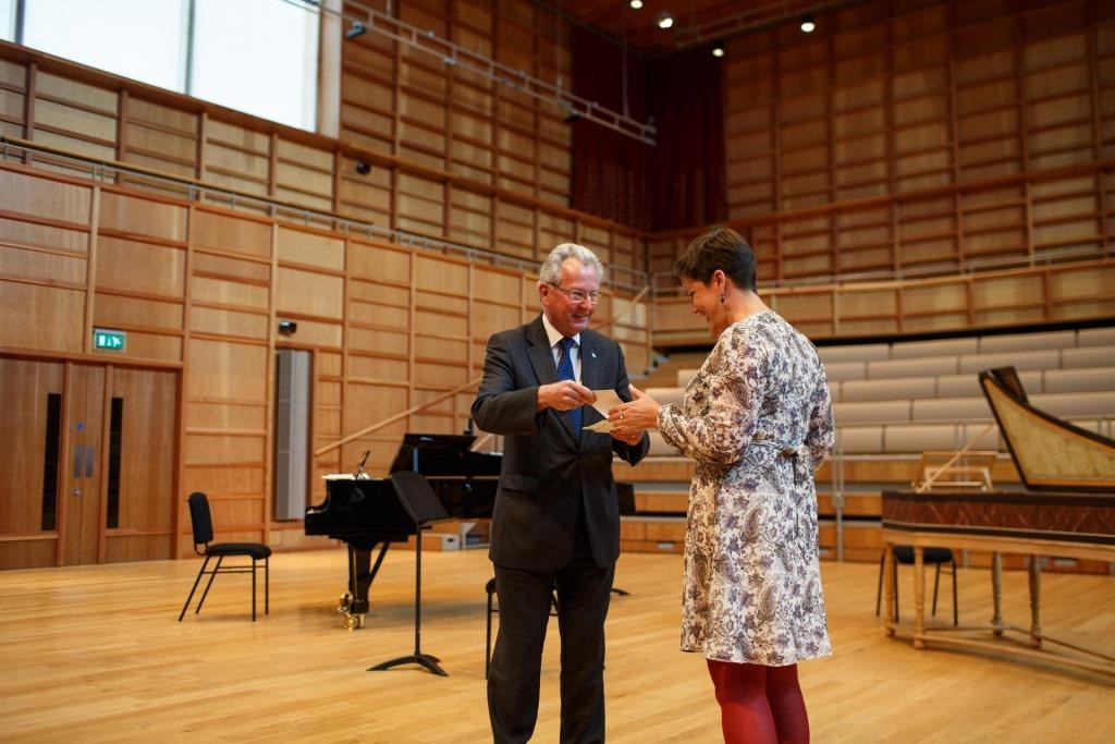 Hannah Perrin receives her award from Professor Keith Mander