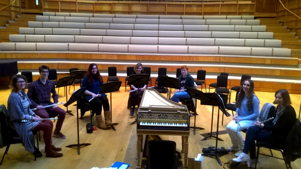 The Flute Choir in rehearsal