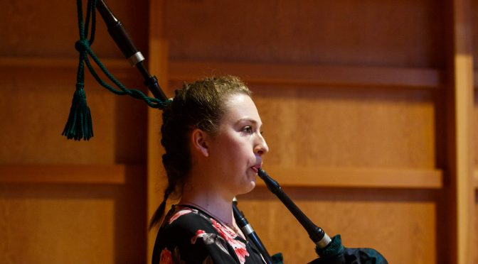 Piping hot: first-year Scholar Eloise at the National Piping Centre