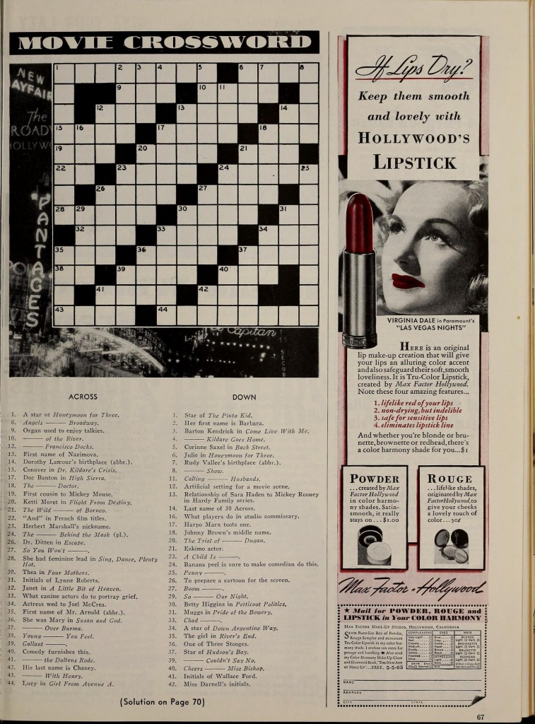 Crossword Hollywood May 1941