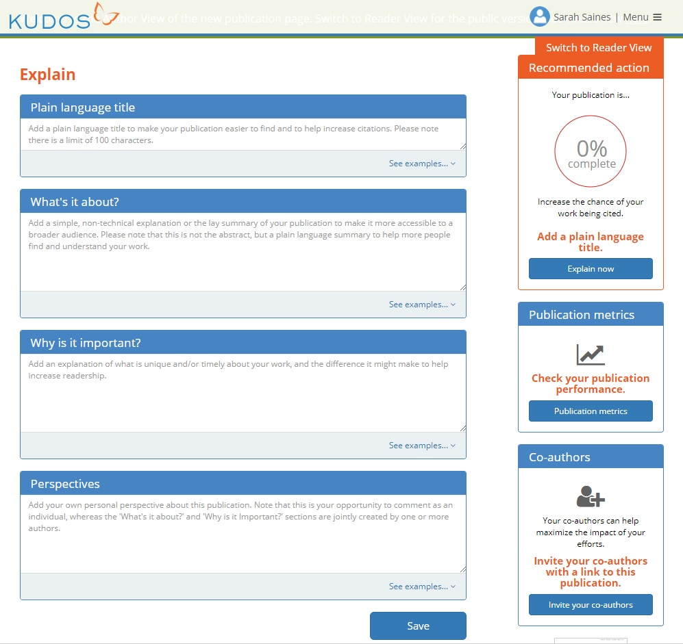 Screenshot of the author view provided by Kudos