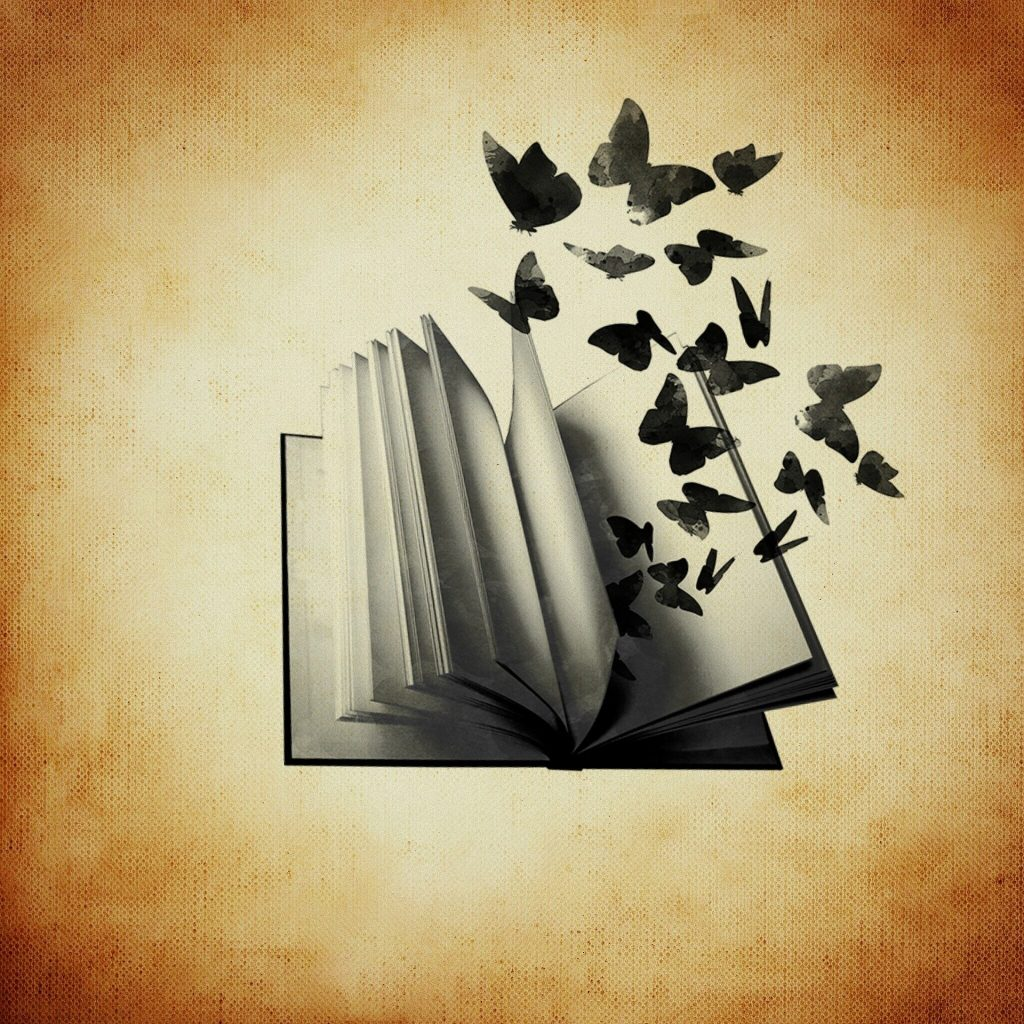 Butterflies released from a book