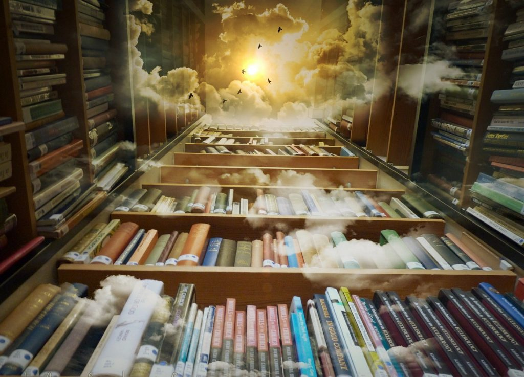 High book shelves leading to open sky of sunshine, clouds and silhouettes of flying birds.